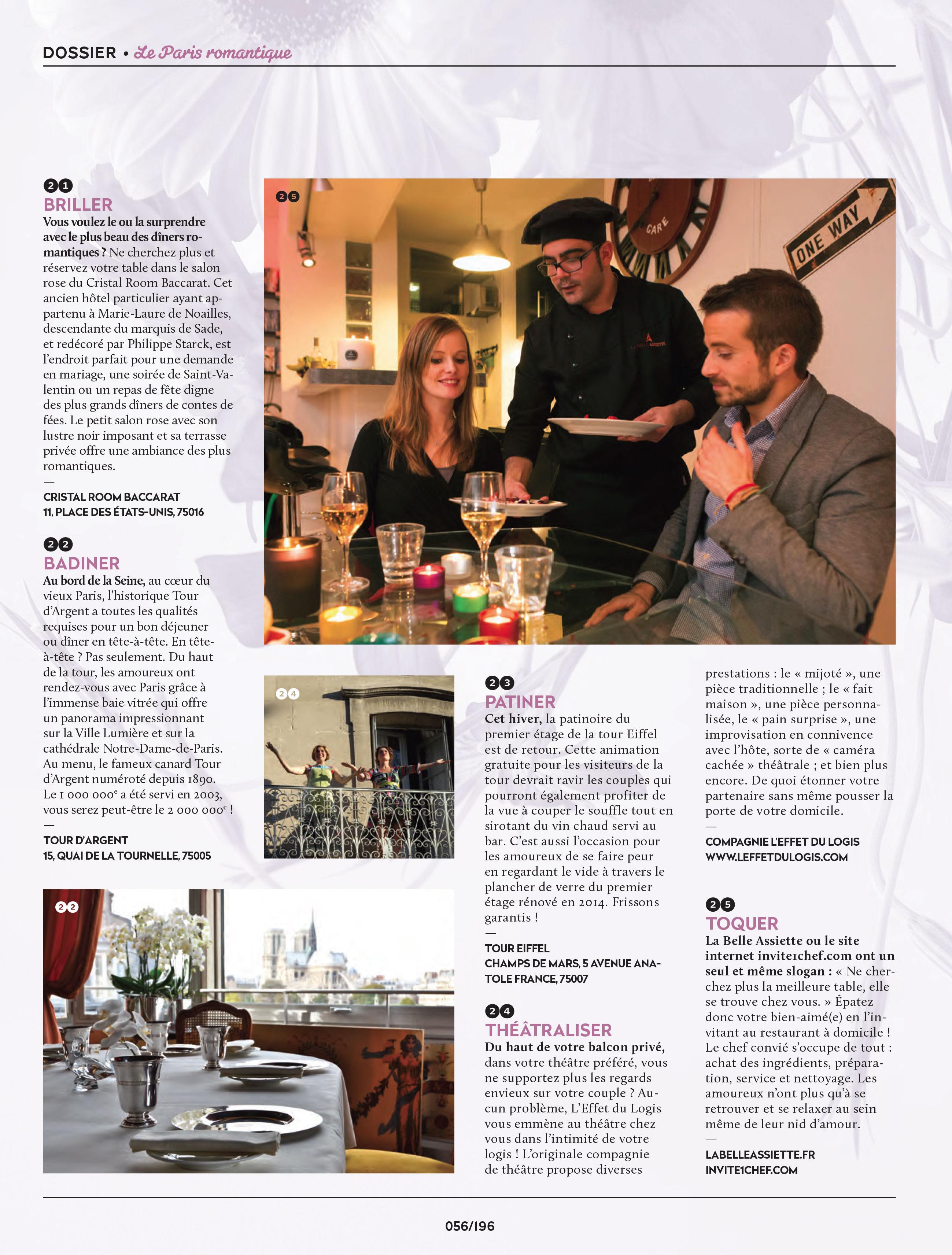 Dossier Vivre Paris de Janvier 2016 sur la Paris romantique où Invite1chef.com est cité