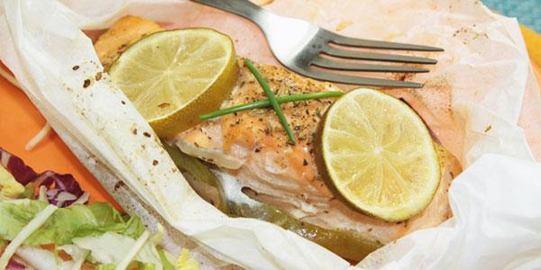 Papillote de saumon au citron